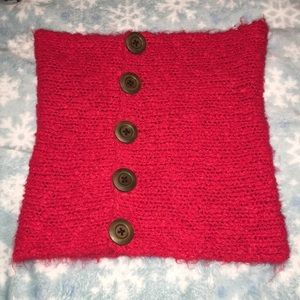 red knitted tube top with buttons